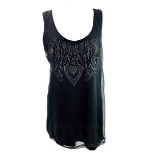 Cynthia Rowley Black Sheer Overlay Tank Size Large